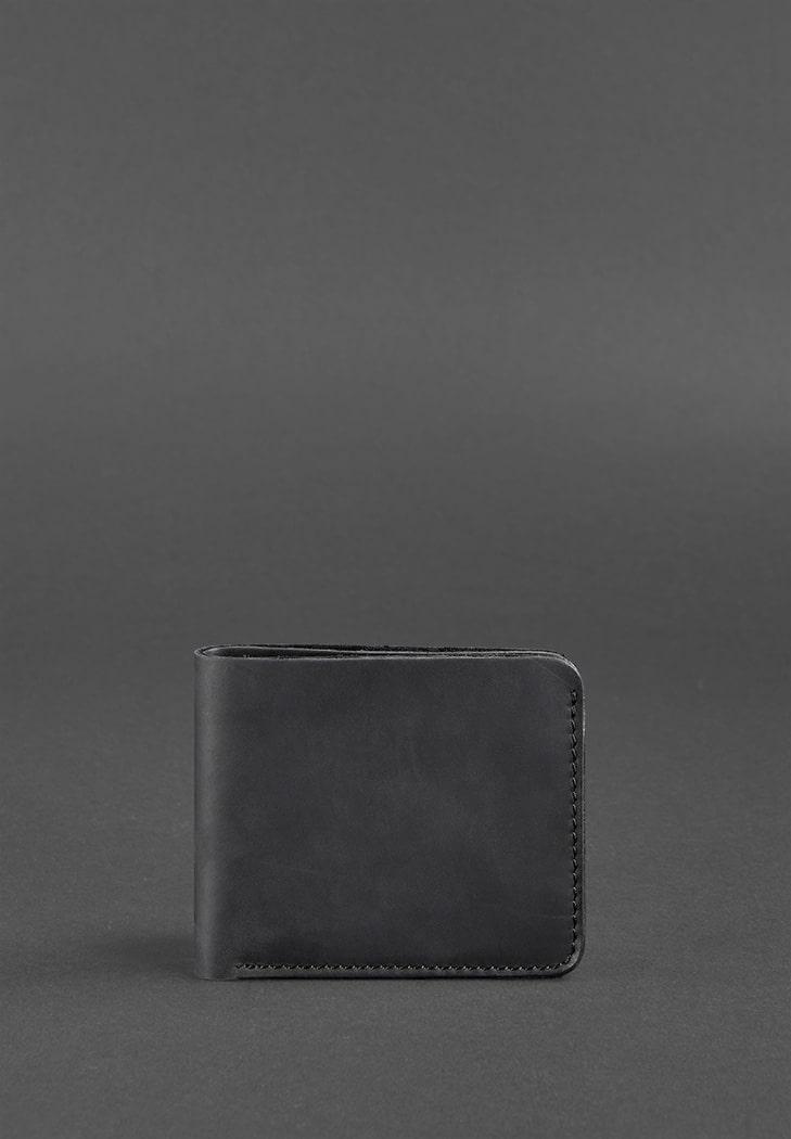 Мужское портмоне кожаное (4 кармана). Черное.