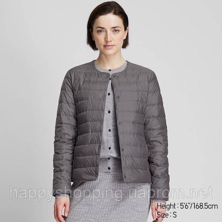 Женская серая ультралегкая куртка на пуху Uniqlo