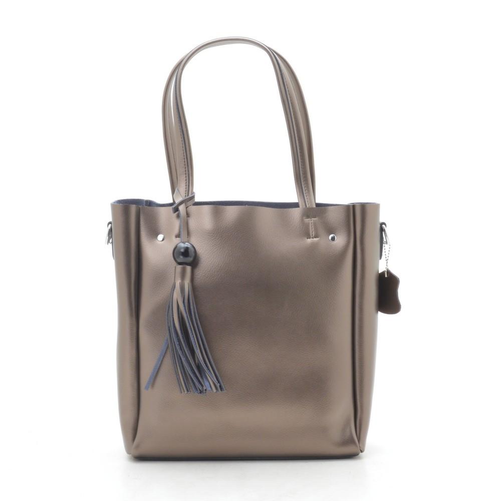 Женская сумка кожаная бронзово серая 185438