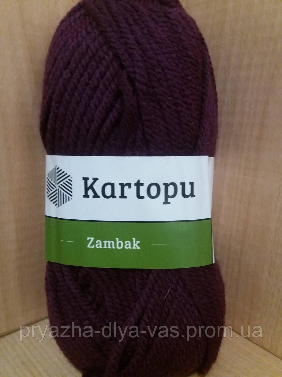 Акриловая пряжа (100%- акрил, 100 г/133 м) Kartopu Zambak K729 (т.баклажан)