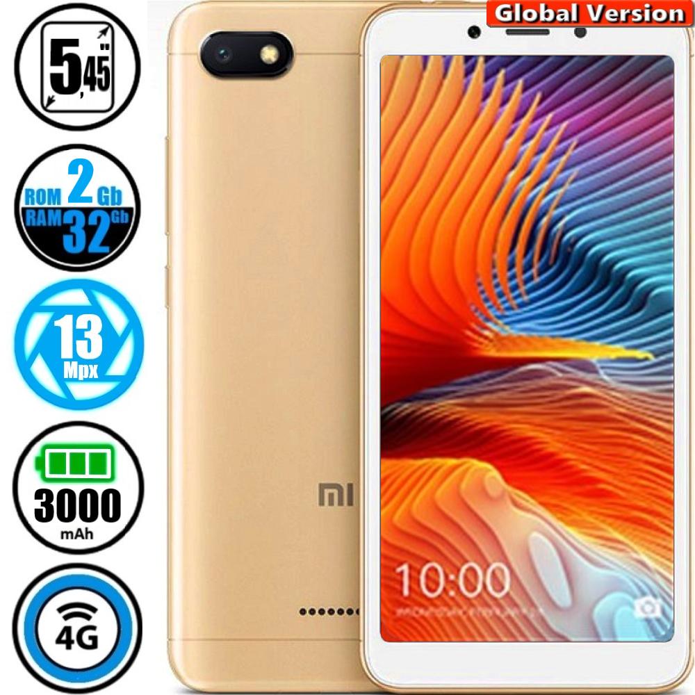 Смартфон Xiaomi Redmi 6A 2/32Gb Gold MIUI 10 (Сертифицирован в Украине UCRF) + Стекло в подарок
