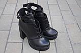 Ботильоны женские на каблуке кожаные черные 231115, фото 3