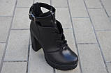 Ботильоны женские на каблуке кожаные черные 231115, фото 2