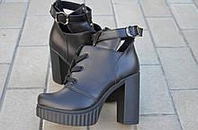 Ботильоны женские на каблуке кожаные черные 231115