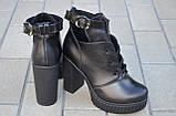 Ботильоны женские на каблуке кожаные черные 231115, фото 4