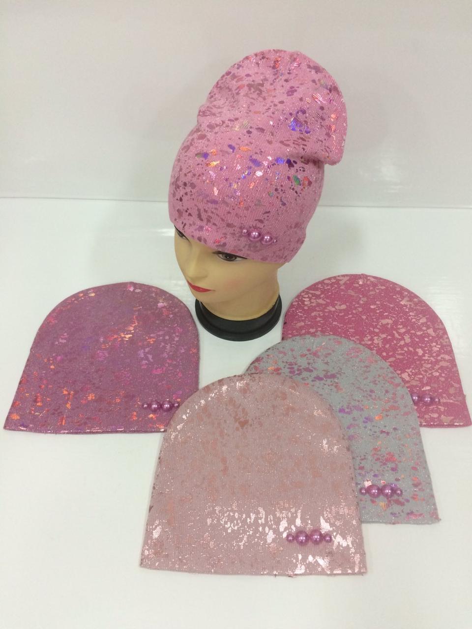 Детские демисезонные вязаные шапки для девочек оптом, р.50-52, ANPA (Польша)