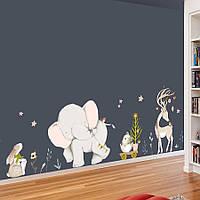"""Наклейка на стену, виниловые наклейки в детский сад, для детей """"Слоненок с тележкой"""" 55см*150см (лист 60*90см)"""