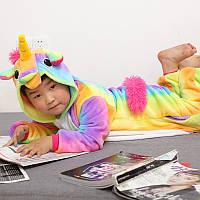 Кигуруми пижама Единорог Радужный микрофибра(велсофт) детский