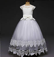 Платье бальное белое для девочки в пол на 5-8 лет