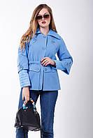 Приталенное пальто с отложным воротником небесно-голубое 2-227