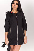 Осеннее платье-пальто черное 2-285