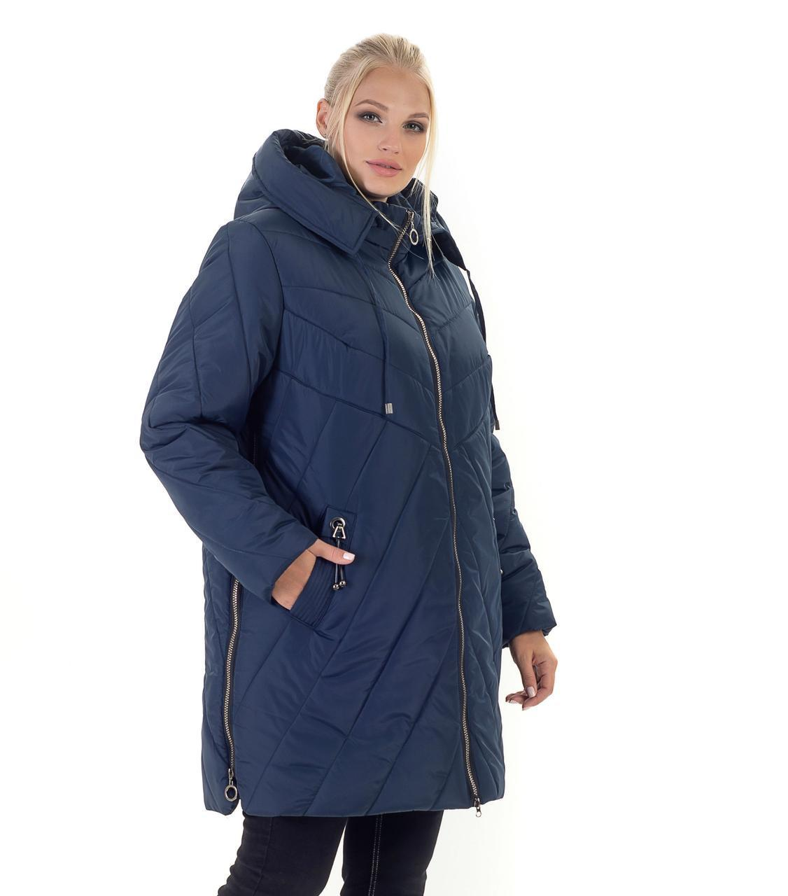 Женский зимний пуховик / куртка синий большихразмеров размер 56 58 60 62 64 66 68 70