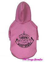 Толстовка для собак розовая с начесом