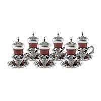 Набор восточных стаканов для чая Sena Kusakli серебристый на 6 персон