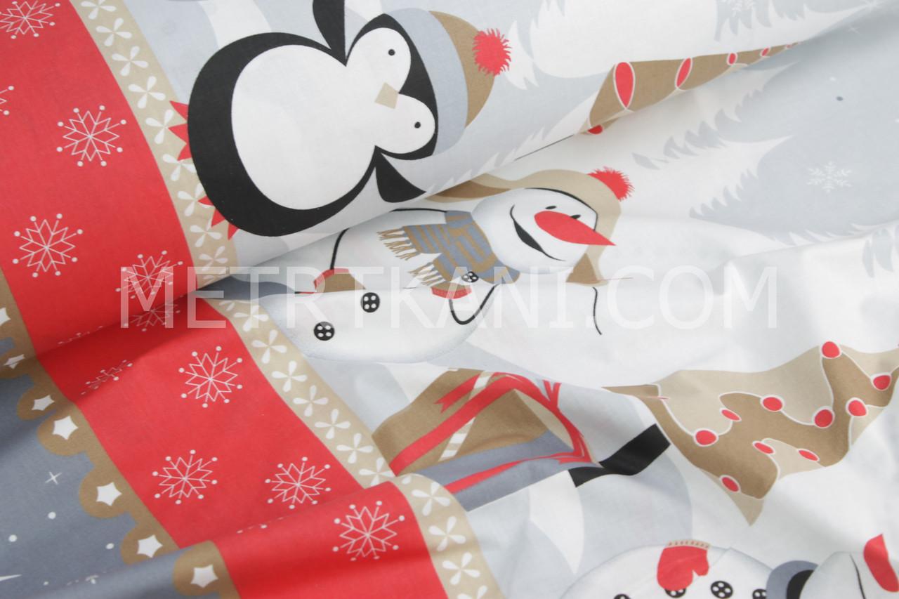 Новорічна тканина зі сніговиками і пінгвінами №826