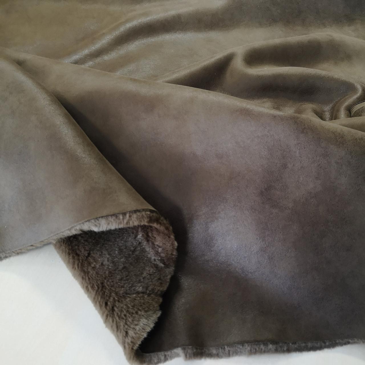 Мех дубляж коричневый (мутон+ замша)