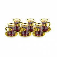 Набор восточных стаканов для чая Sena Damla золотистый на 6 персон