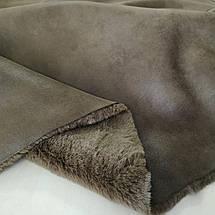 Мех дубляж коричневый (мутон+ замша), фото 2