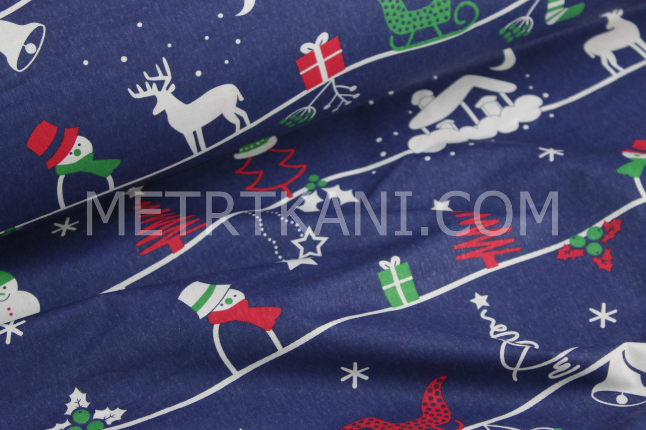 Новогодняя ткань с домиками и ёлками на синем фоне №782