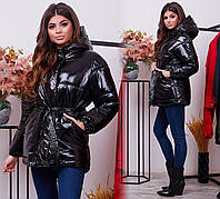 Женская зимняя лакированная куртка с поясом и капюшоном черная синяя красная бордо 42-44 44-46 48-50, фото 1