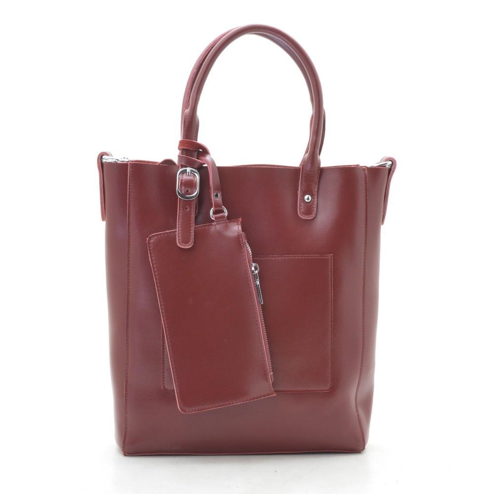 Женская сумка кожаная темно красная 188317