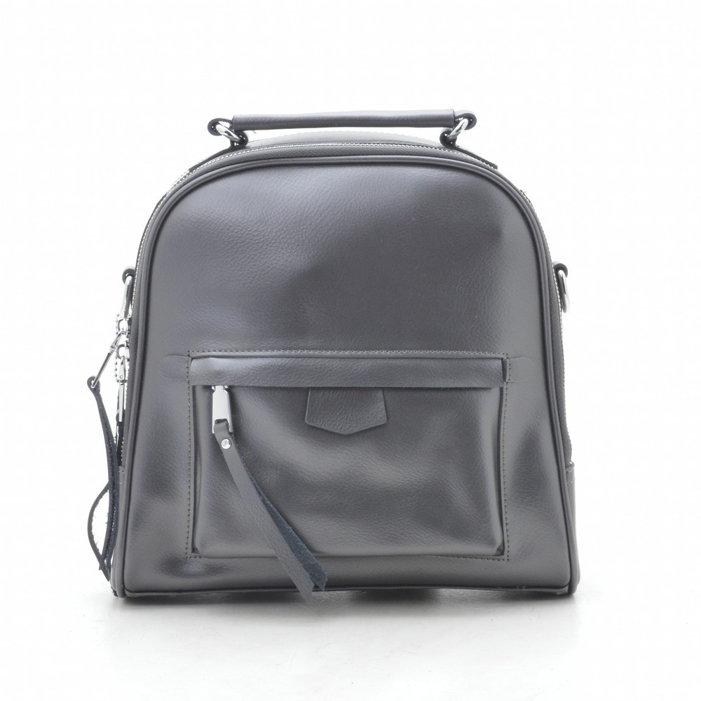 Рюкзак сумка женский кожаный серый 185410