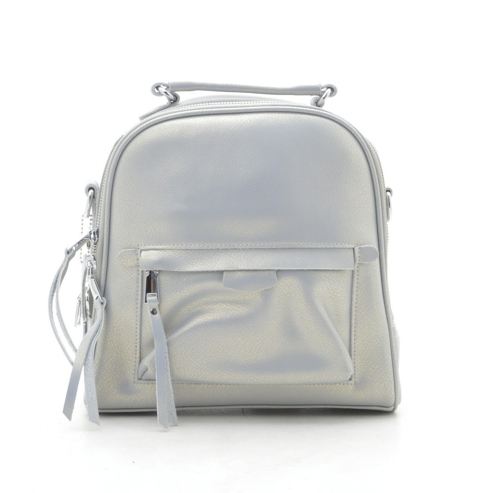 Рюкзак сумка женский кожаный серебристый 185414