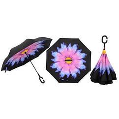 Ветрозащитный зонт обратного сложения UP-brella. Сине-фиолетовый цветок