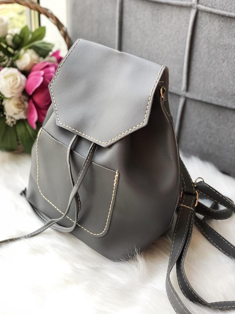 Женский рюкзак серого цвета из эко кожи