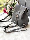 Женский рюкзак серого цвета из эко кожи, фото 3