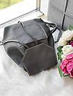 Женский рюкзак серого цвета из эко кожи, фото 7