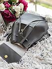 Женский рюкзак серого цвета из эко кожи, фото 8