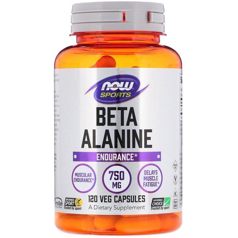 """Бета-аланін NOW Foods, Sports """"Beta-Alanine"""" м'язова витривалість, 750 мг (120 капсул)"""