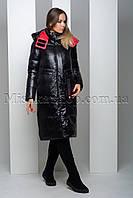 Стильный чёрный пуховик из мягкой глянцевой ткани с красной подкладкой Peercat 19-122, фото 1