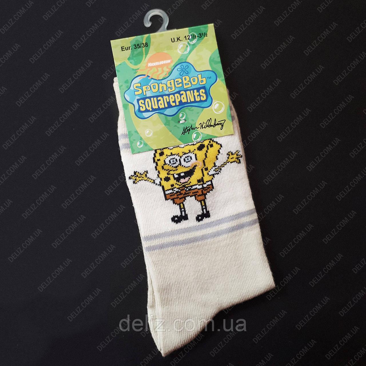 Дитячі шкарпетки з Губкою Бобом СВІТЛІ. Розмір 35-38 (11-13 років)