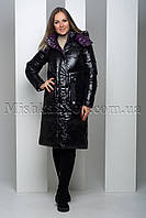 Стильный чёрный пуховик из мягкой глянцевой ткани с фиолетовой подкладкой Peercat 19-122, фото 1