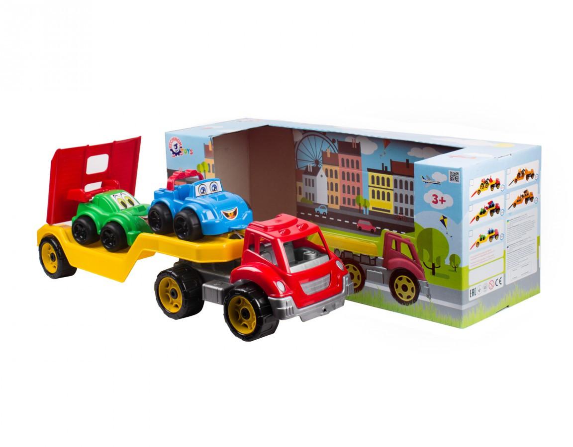 """Іграшка """"Автовоз з набором машинок ТехноК"""", 3909 (4шт) в кор. 64×21×24 см"""