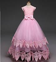 Платье бальное розовое для девочки в пол на 6-7 лет