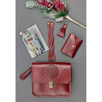 Женский подарочный набор кожаных аксессуаров Бордо Краст, фото 2