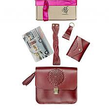 Женский подарочный набор кожаных аксессуаров Бордо Краст, фото 3