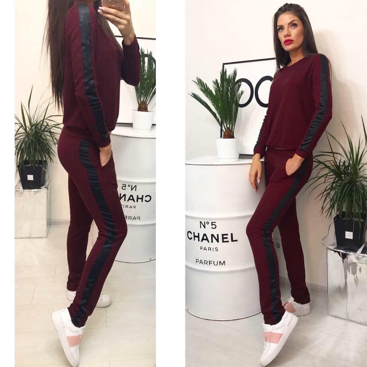 Трикотажный женский спортивный костюм с Лампасами и карманами ( Турция ) Марсал 44, 46 размер норма