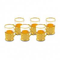 Набор стаканов для чая Sena золотистый на 6 персон