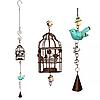 Подвесной декоративный подсвечник Клетка с птичкой 100 см ,бронзовый