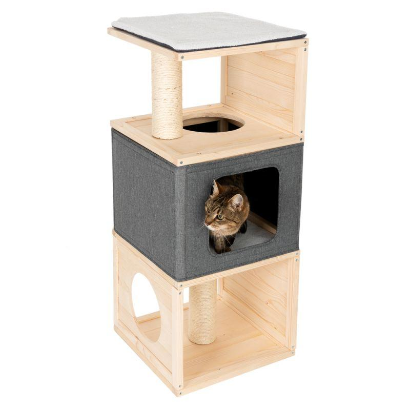 Игровой комплекс для котов Eco Premium Cube с домиком для кошки и когтеточкой