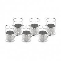 Набор стаканов для чая Sena себеристый на 6 персон