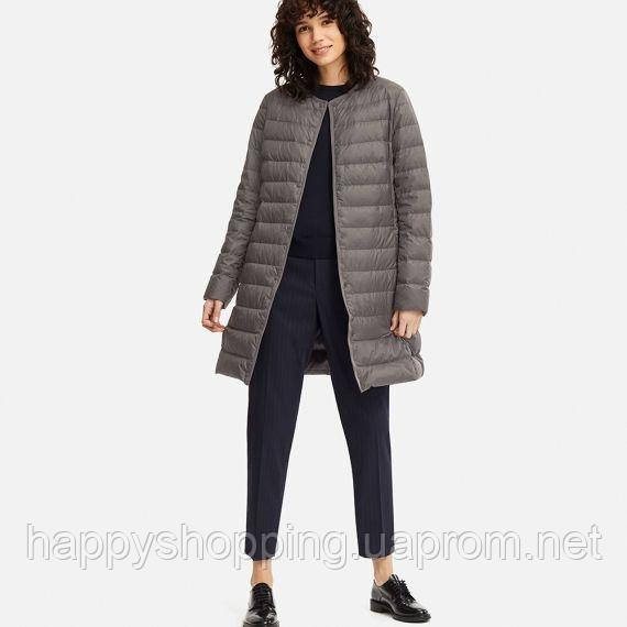 Женское темно-серое ультралегкое  пальто на пуху Uniqlo