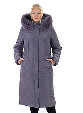Женский длинный зимний пуховик / куртка с мехом черний большихразмеров размер 48 50 52 54 56 58 60 62 64 66, фото 2