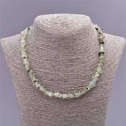 Бусы из натурального камня Пренит галтовка поперечка, диаметр 8мм(+-), длина 47см