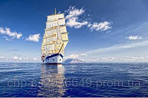 Скинали Корабль в море - стекло с фотопечатью