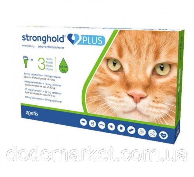 Стронгхолд Плюс (Stronghold Plus) 60 мг/10 мг капли для кошек от 5 до 10 кг 3 пипетки по 1 мл